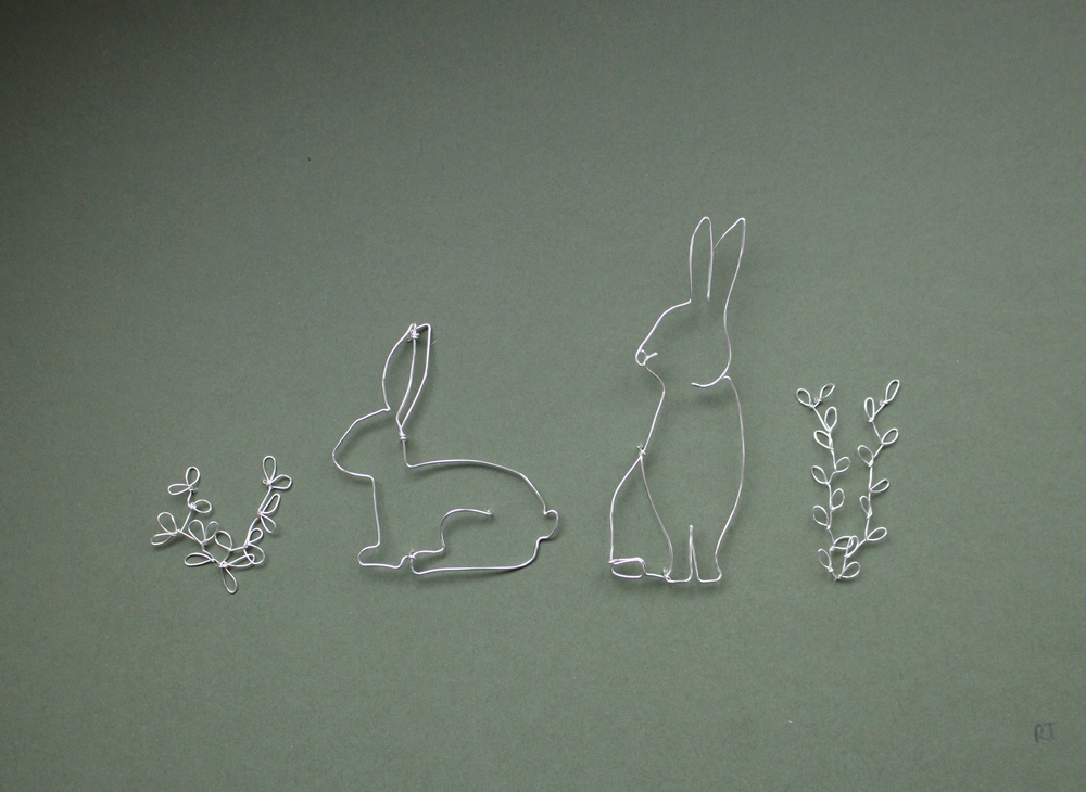Rabbits  silver plated copper wire  sold