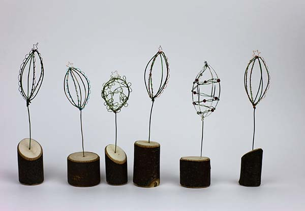 Little Trees  copper wire on wooden plinths