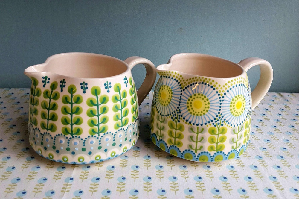 Formal Hedge Jug and Daisy Jug   earthenware and stoneware   both approx. 12cm high x 12cm dia  2016