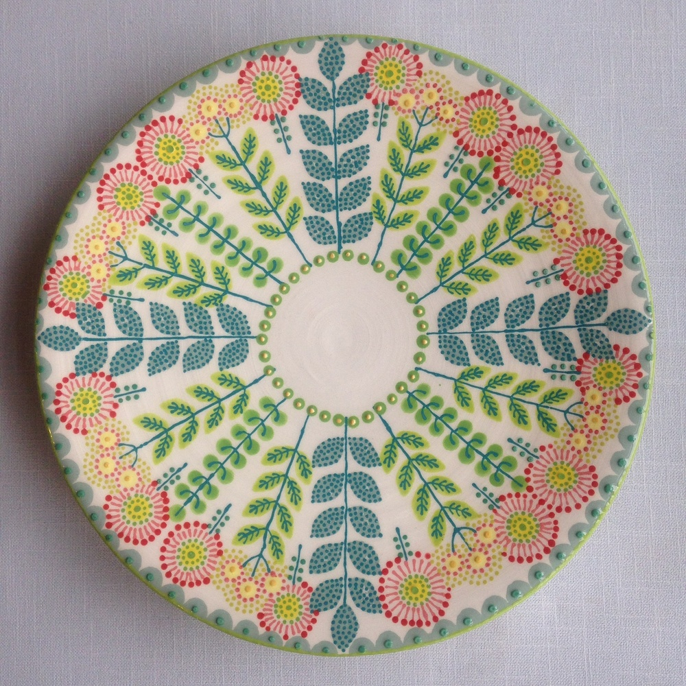 Multicoloured Daisy Platter 2   earthenware and stoneware   approx. 24cm dia  2015