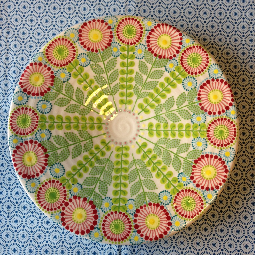 Pink Daisies Platter   earthenware and stoneware   approx. 25cm dia  2015