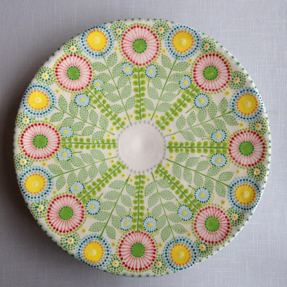 Multicoloured Daisy Platter 1   earthenware and stoneware   approx. 30cm dia  2014