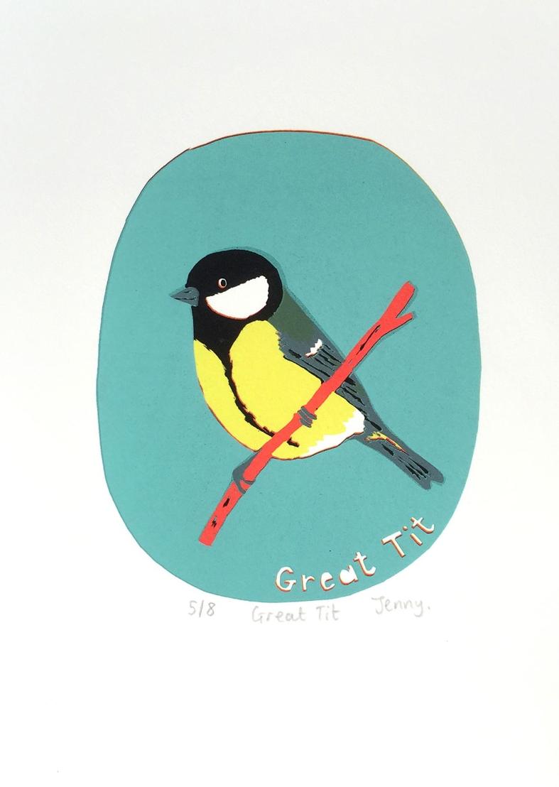 Great Tit  screen print  paper size - 18.9cm x 24cm  image size - 12cm x 14.5cm  £73