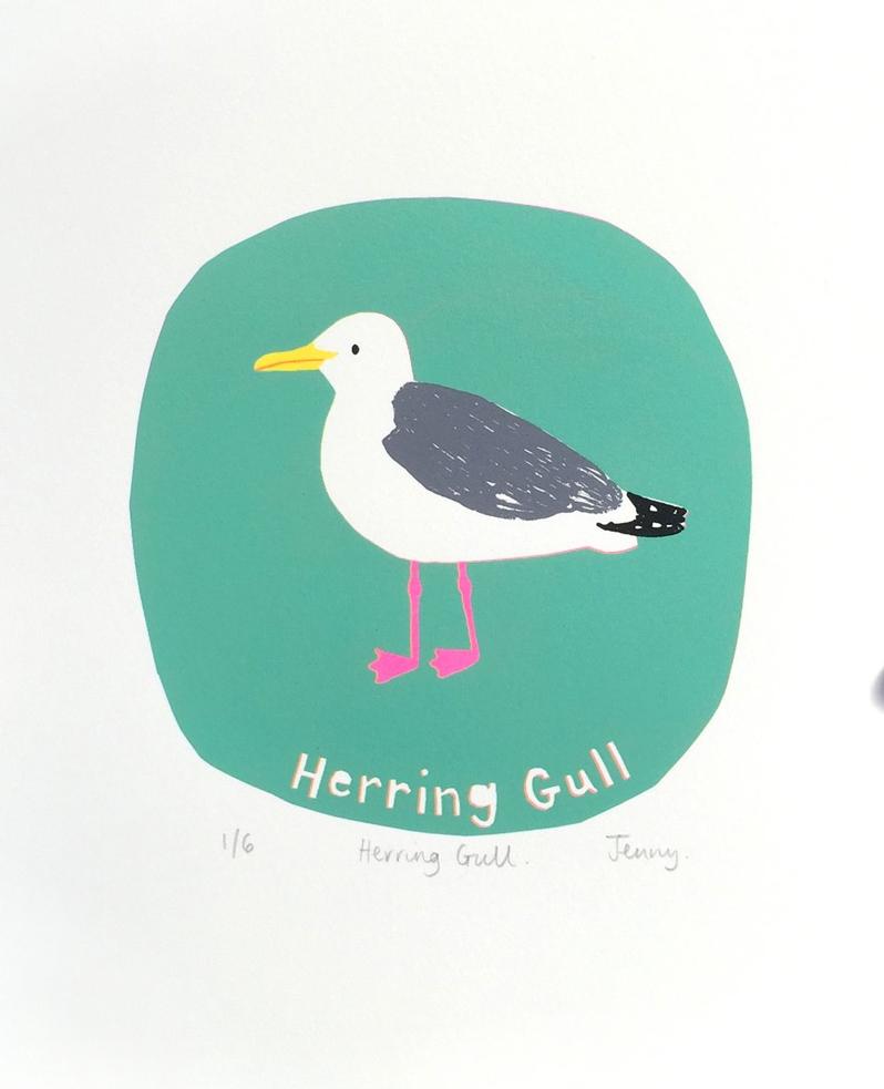 Herring Gull  screen print  paper size - 23cm x 25cm  image size - 15 x 15cm  £73