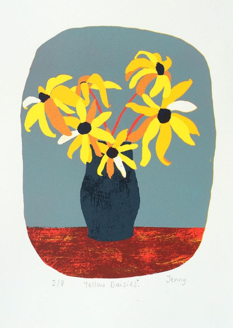 Yellow Daisies  screen print  paper size - 25.2cm x 19.4cm  image size - 14.3cm x 18.5cm  £73