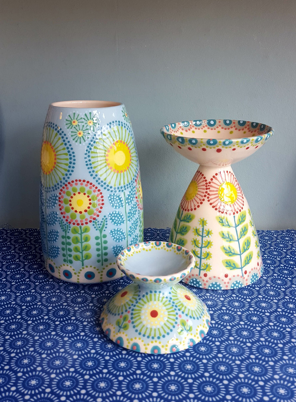 Katrin Moye  Daisy Candle Holders and Vase
