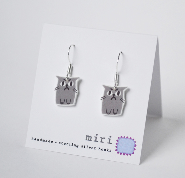 Earrings  screenprinted plastic with silver  £12
