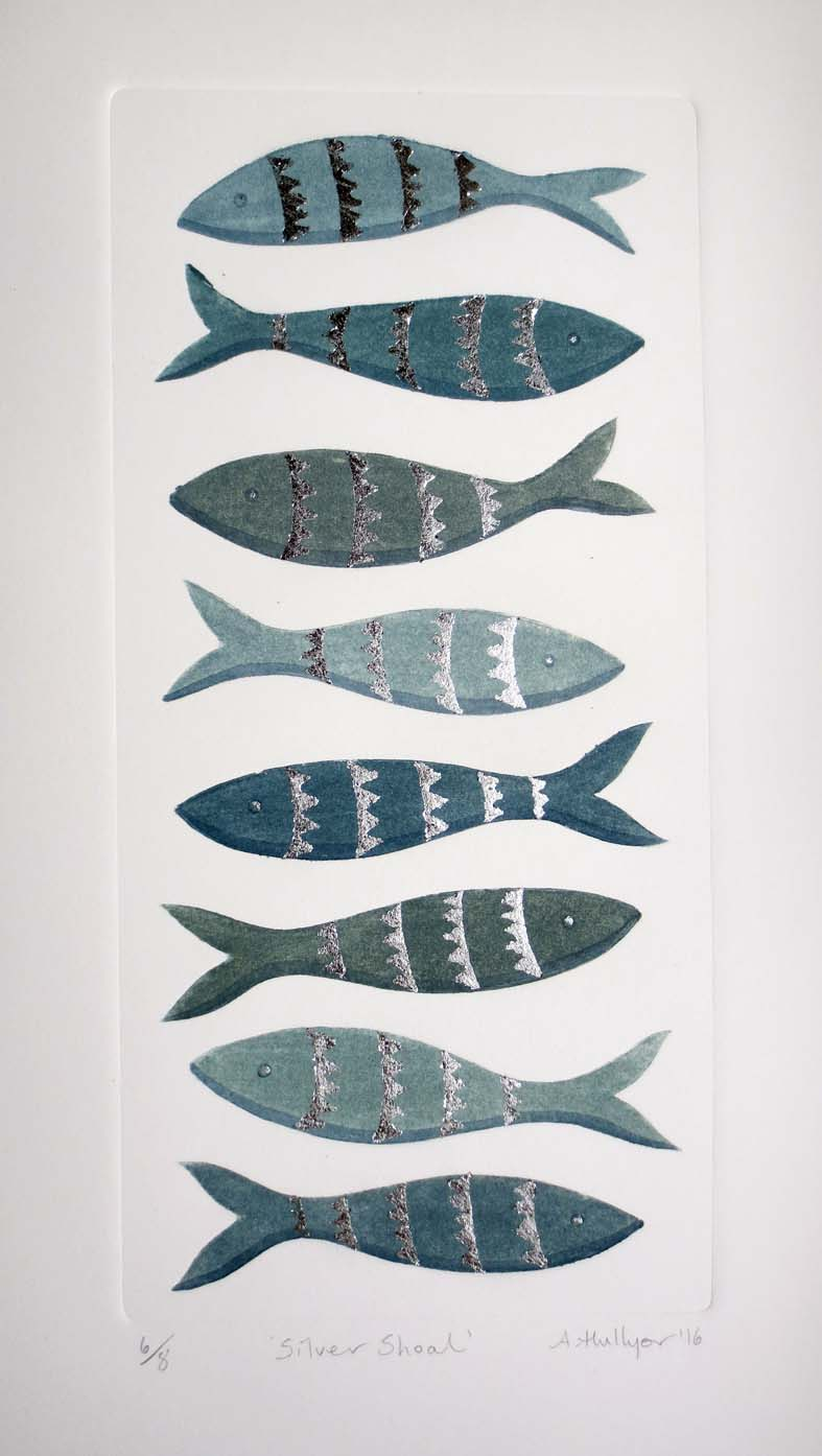 Silver Shoal   mixed media print   12.5 x 26cm  £125 unframed
