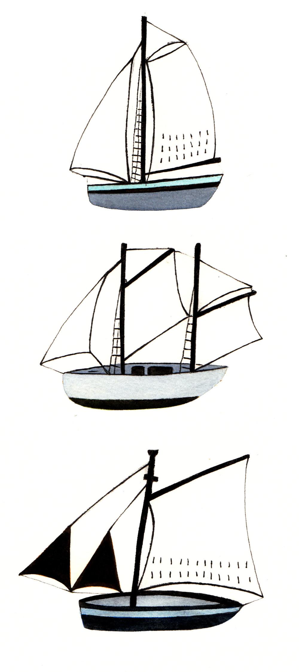 Wallis Boats  paper collograph print  33 x 19cm  £50 unframed