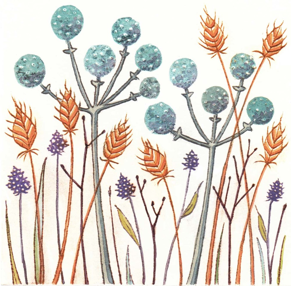 Blue Seeds  paper drypoint print  11 x 11cm  £65 unframed