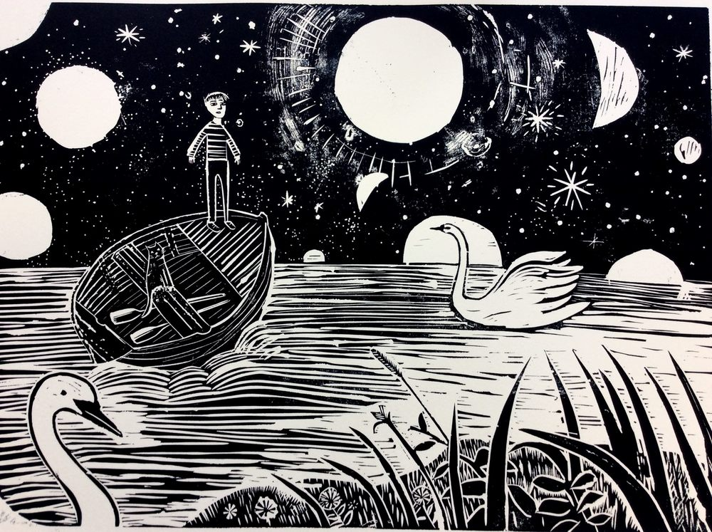Far Island   Linocut  60 x 40cm   £110   (unframed)