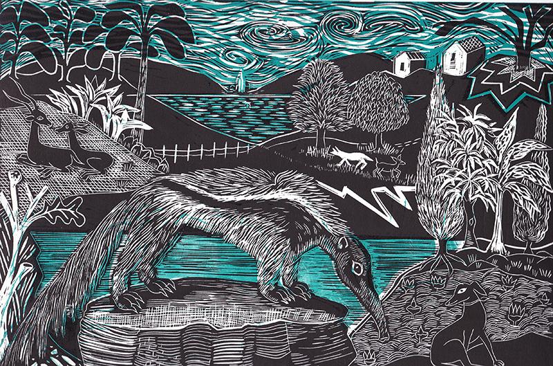 Anteater and Whippet  Linocut  £90 (unframed)