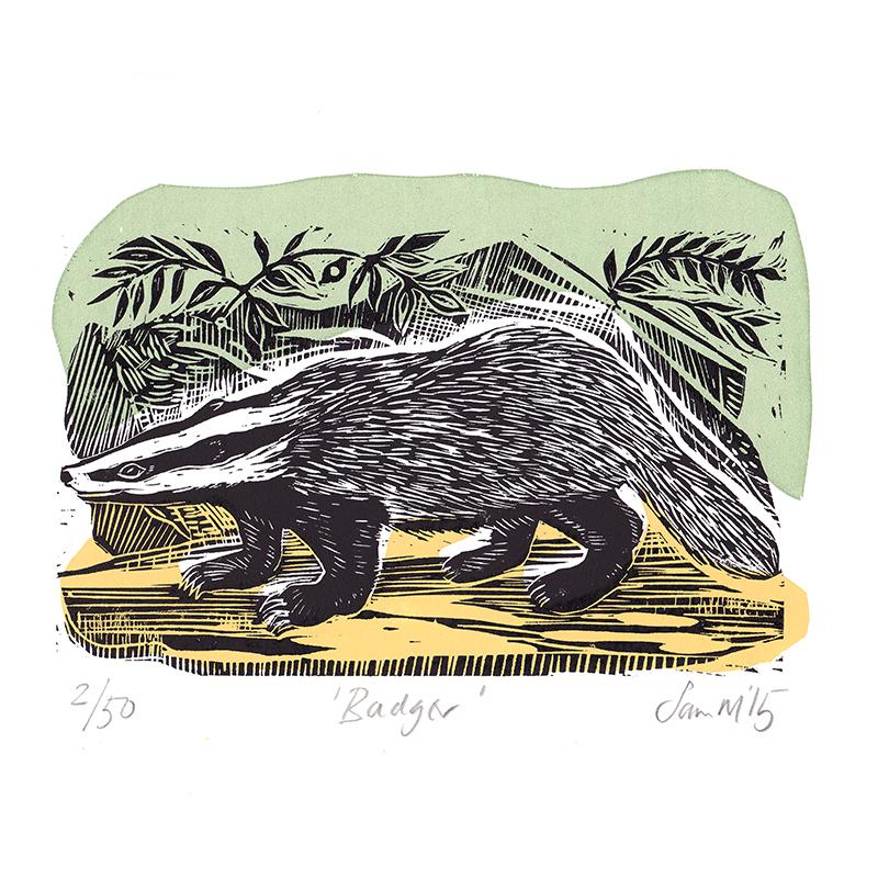 Badger  Linocut  £75 (unframed)