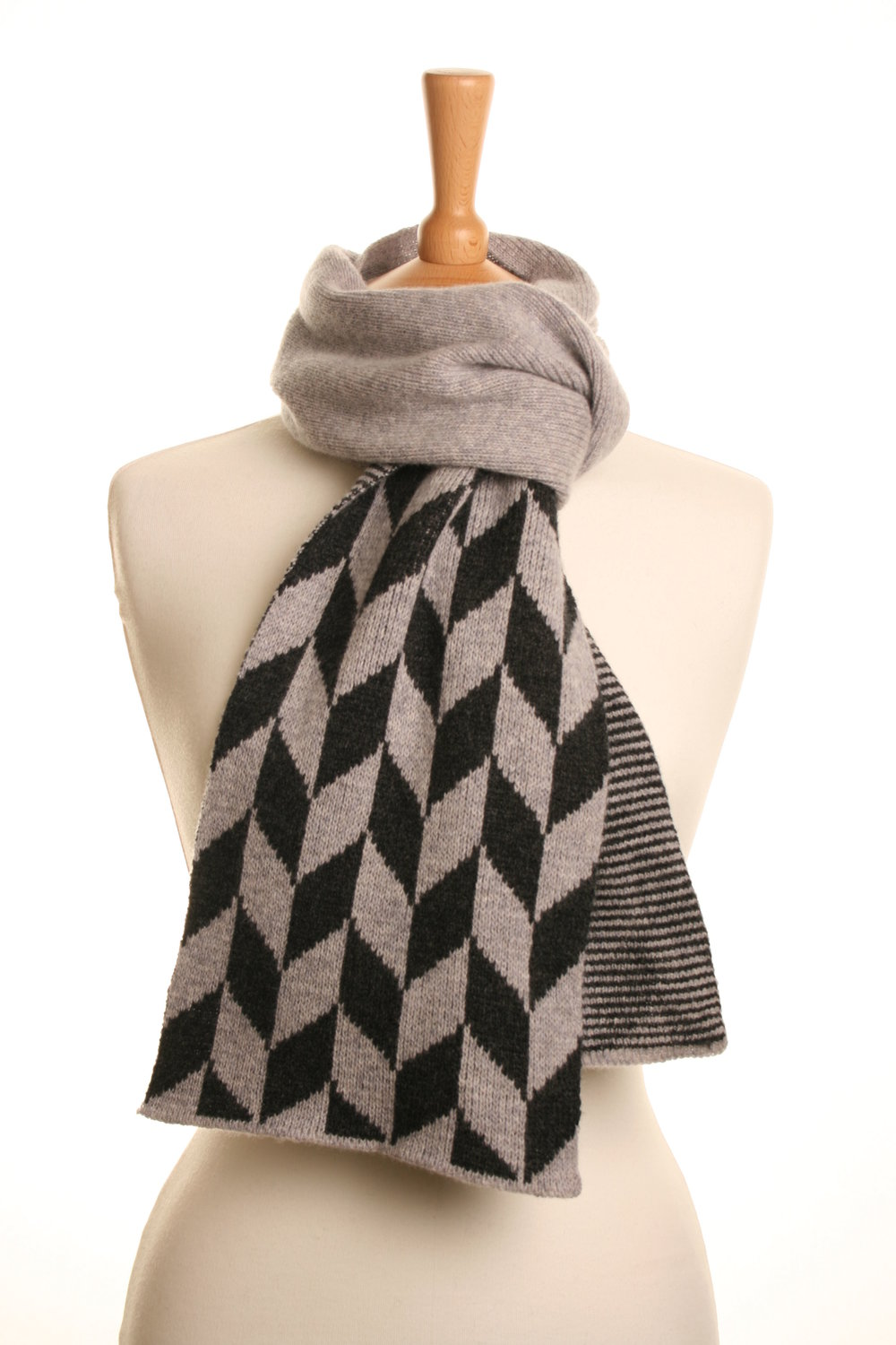 Grey Rhombus Scarf  Knitted Lambswool  £75