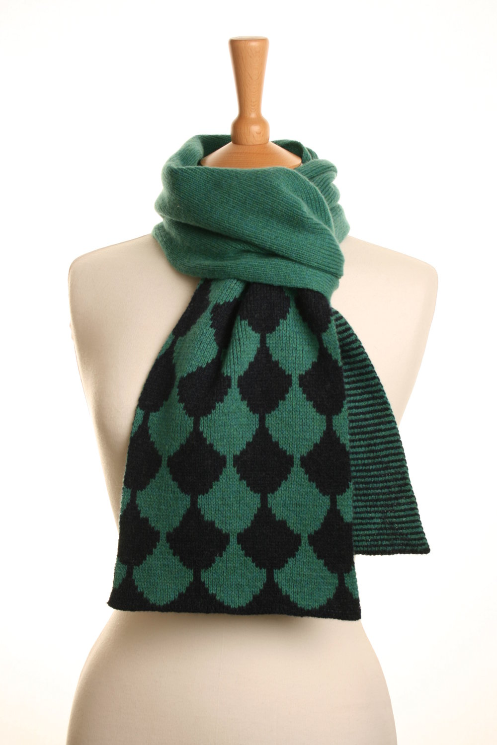 Jade Indigo Scallop Scarf Knitted Lambswool £75