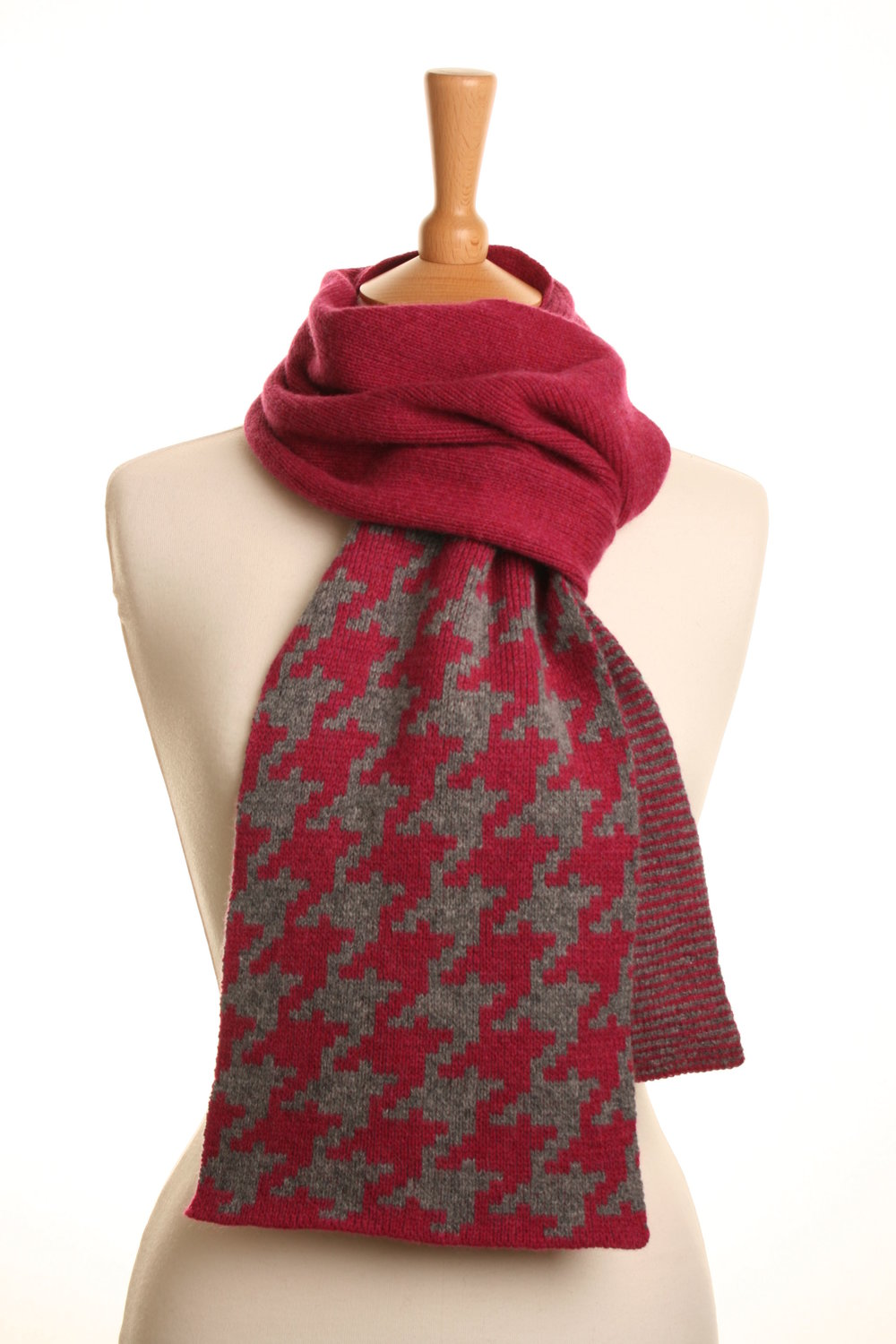 Pink Dogtooth Check Scarf  Knitted Lambswool  £75