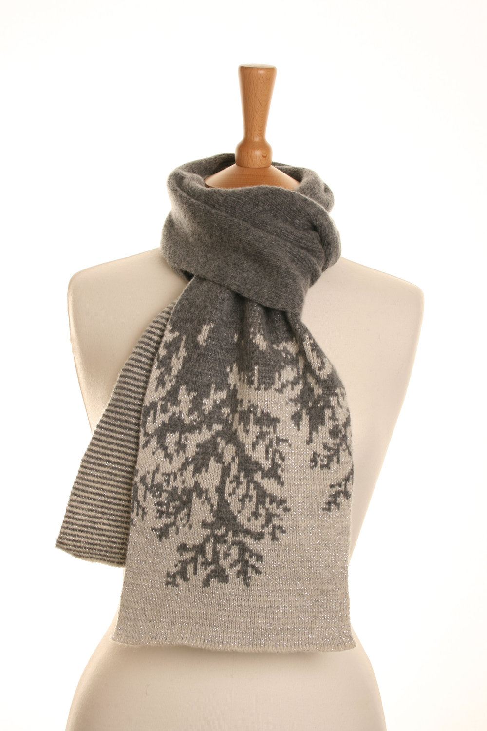 Ice Fir Sparkle Scarf  Knitted Lambswool  £75