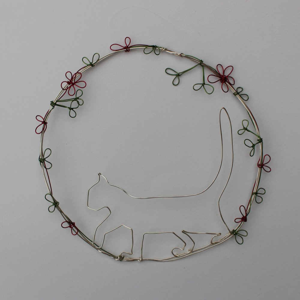 Walking Cat Decoration  copper wire