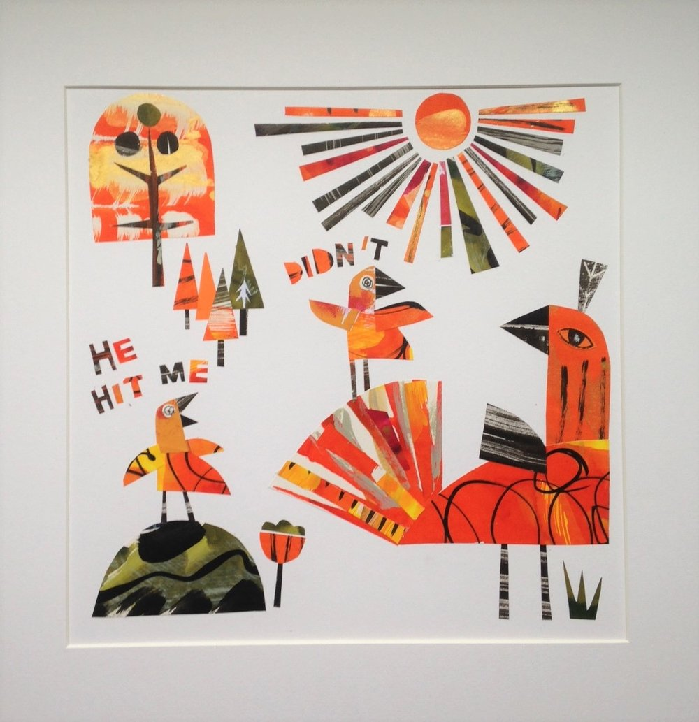 He Hit Me - Didn't  collage monoprint