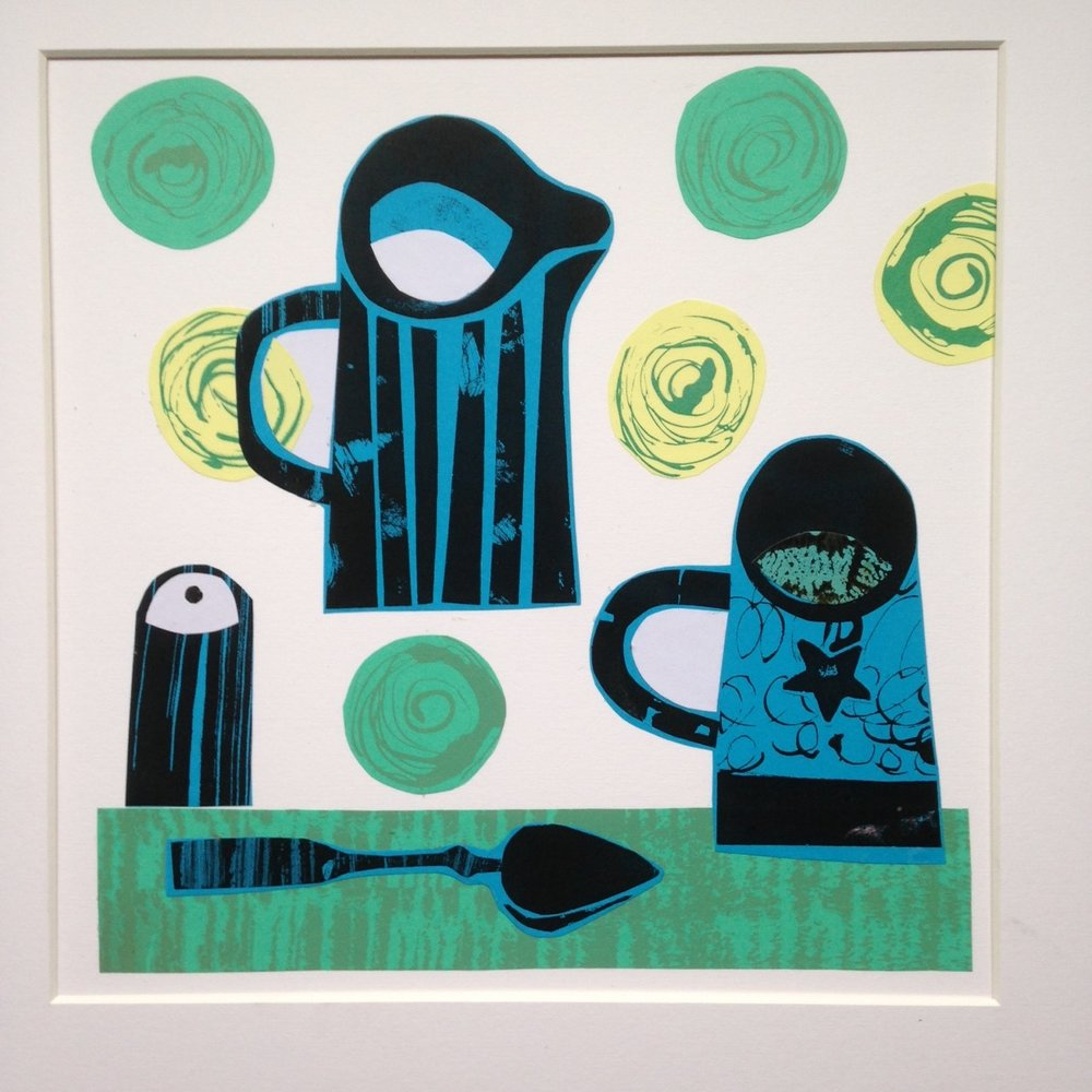 Breakfast collage monoprint