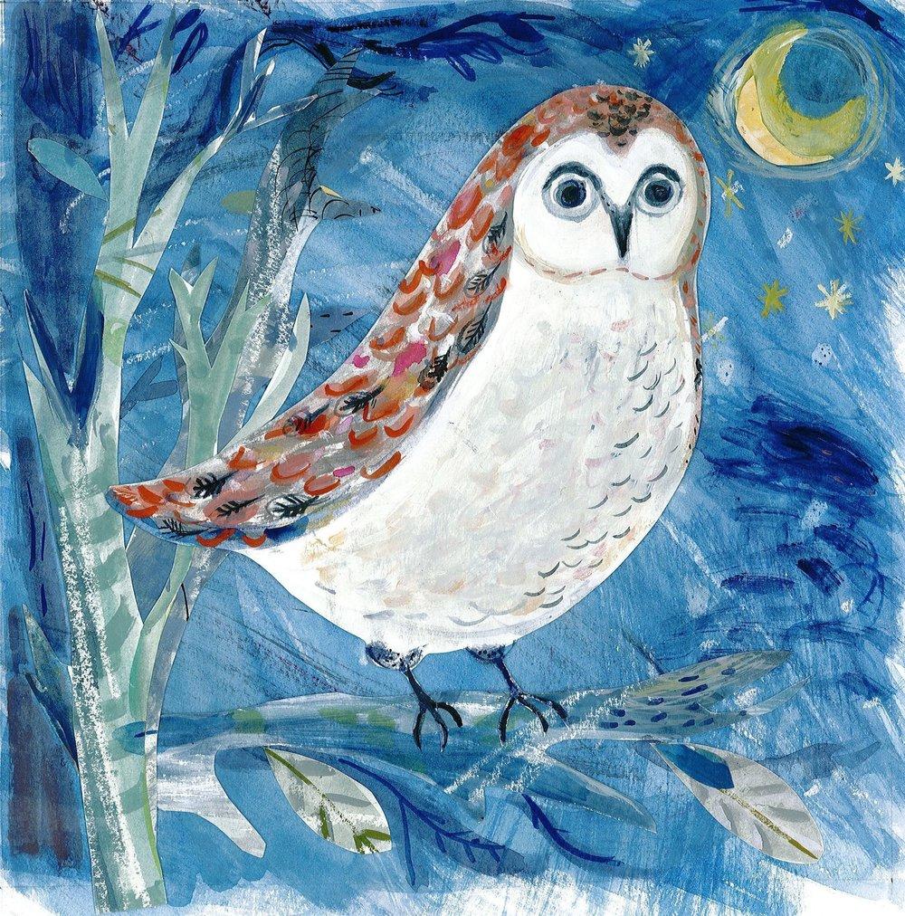 Night Owl mixed media 30cmX30cm £280 framed
