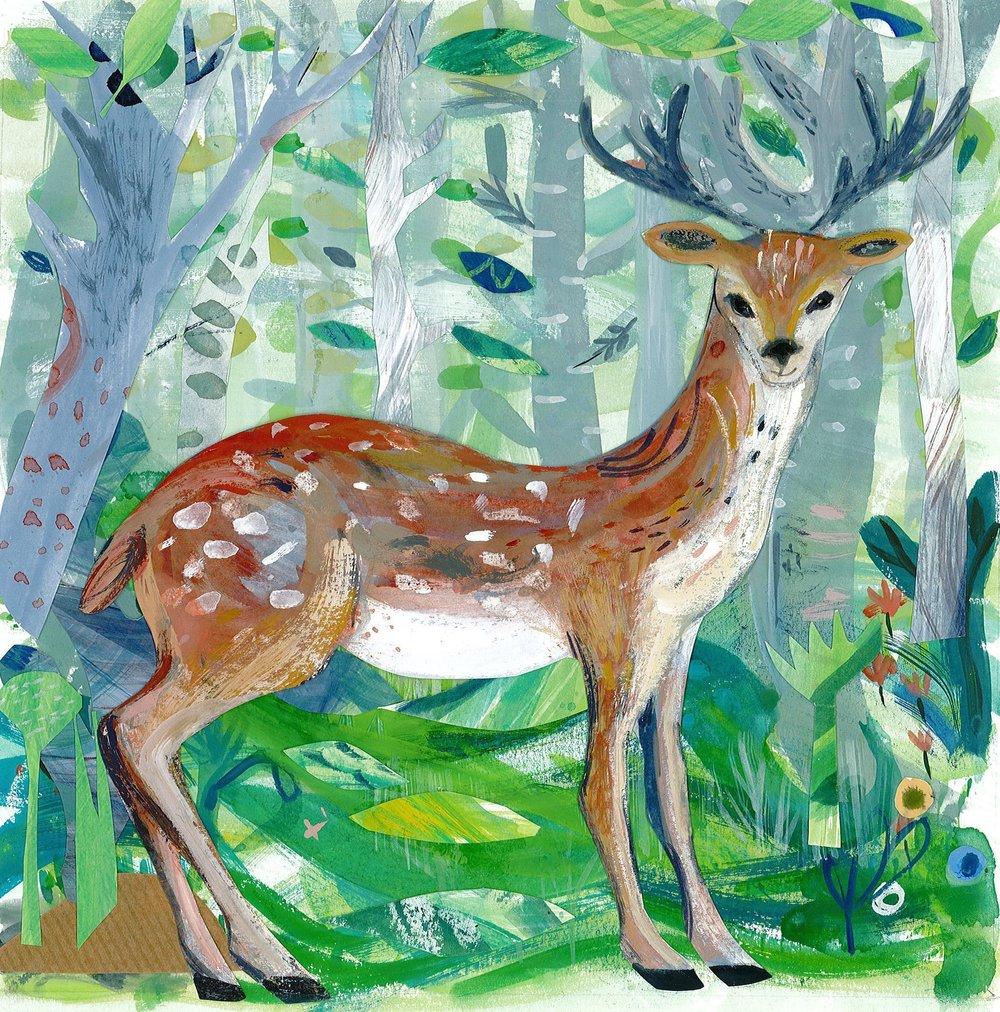 Spring Deer mixed media 30cmX30cm £280 framed