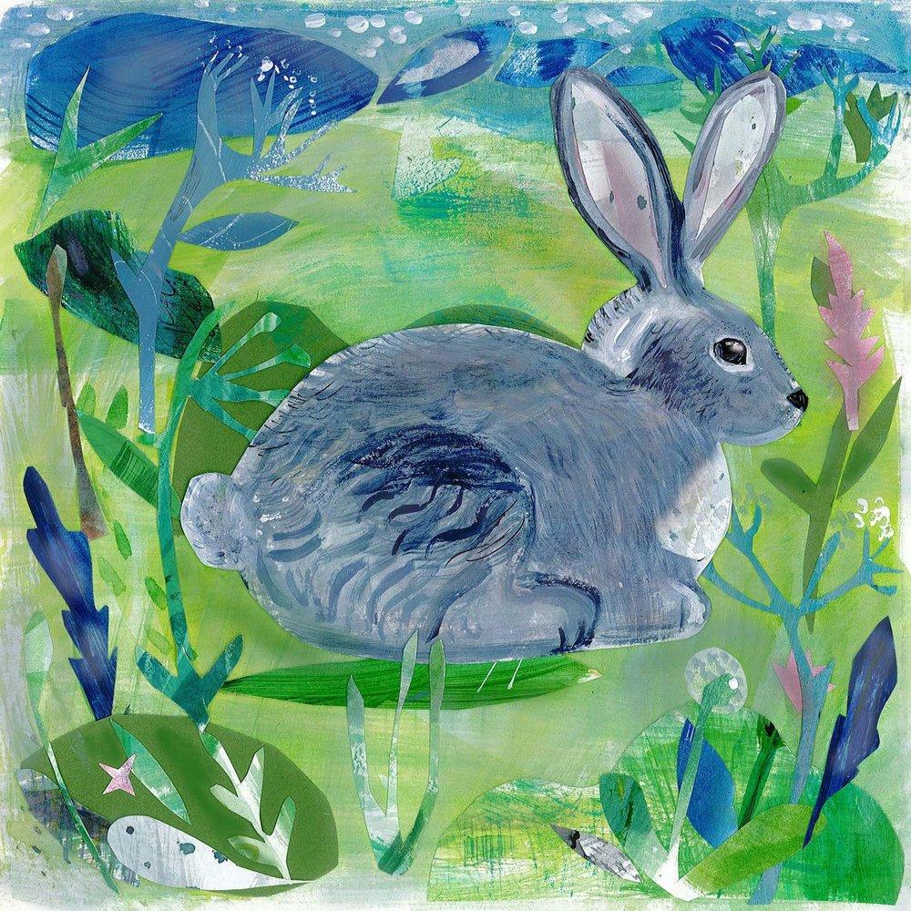 Spring Rabbit mixed media 30cmX30cm £280 framed