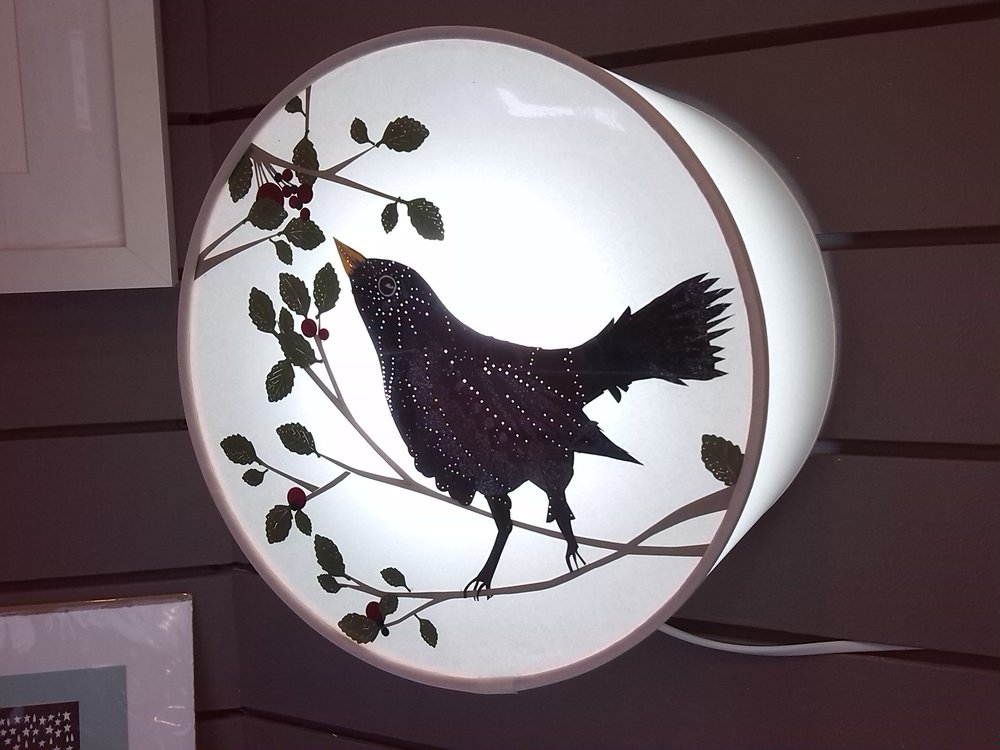 Jo Green's Blackbird and Berries 10'' Drum Lamp £95