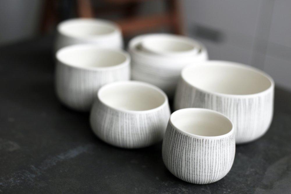 Line Pots  Porcelain  Various Sizes  £22-£66