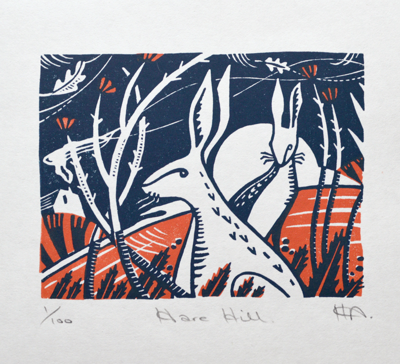 Hare Hill  Linocut on Japanese paper  image size: 9cm x 11.6cm  £25 unframed