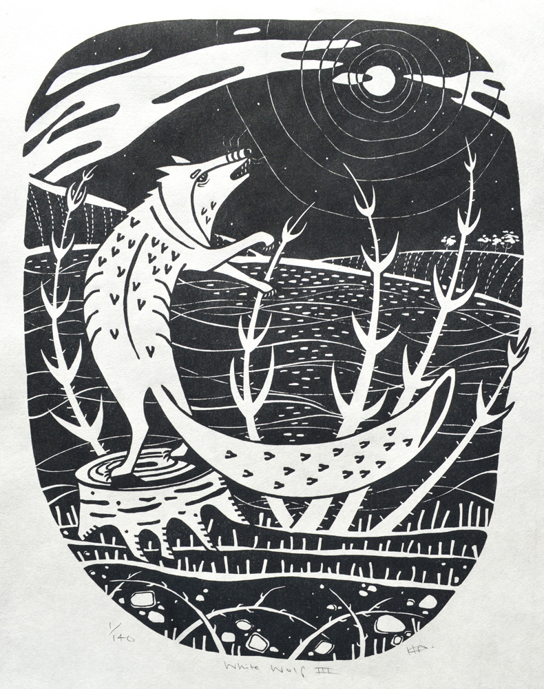 White Wolf III  Linocut on Japanese paper  image size: 36.8cm x 28.9cm  £95 unframed