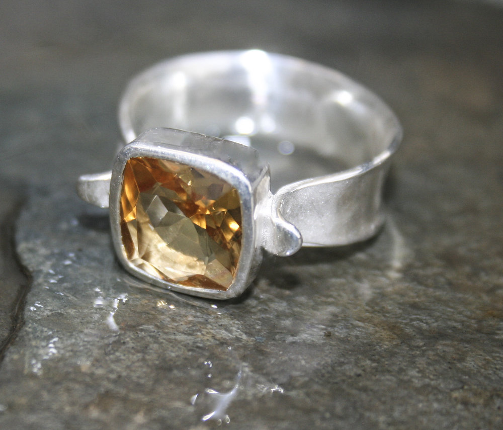Antique Cushion Set Citrine and Sterling Silver Ring 195