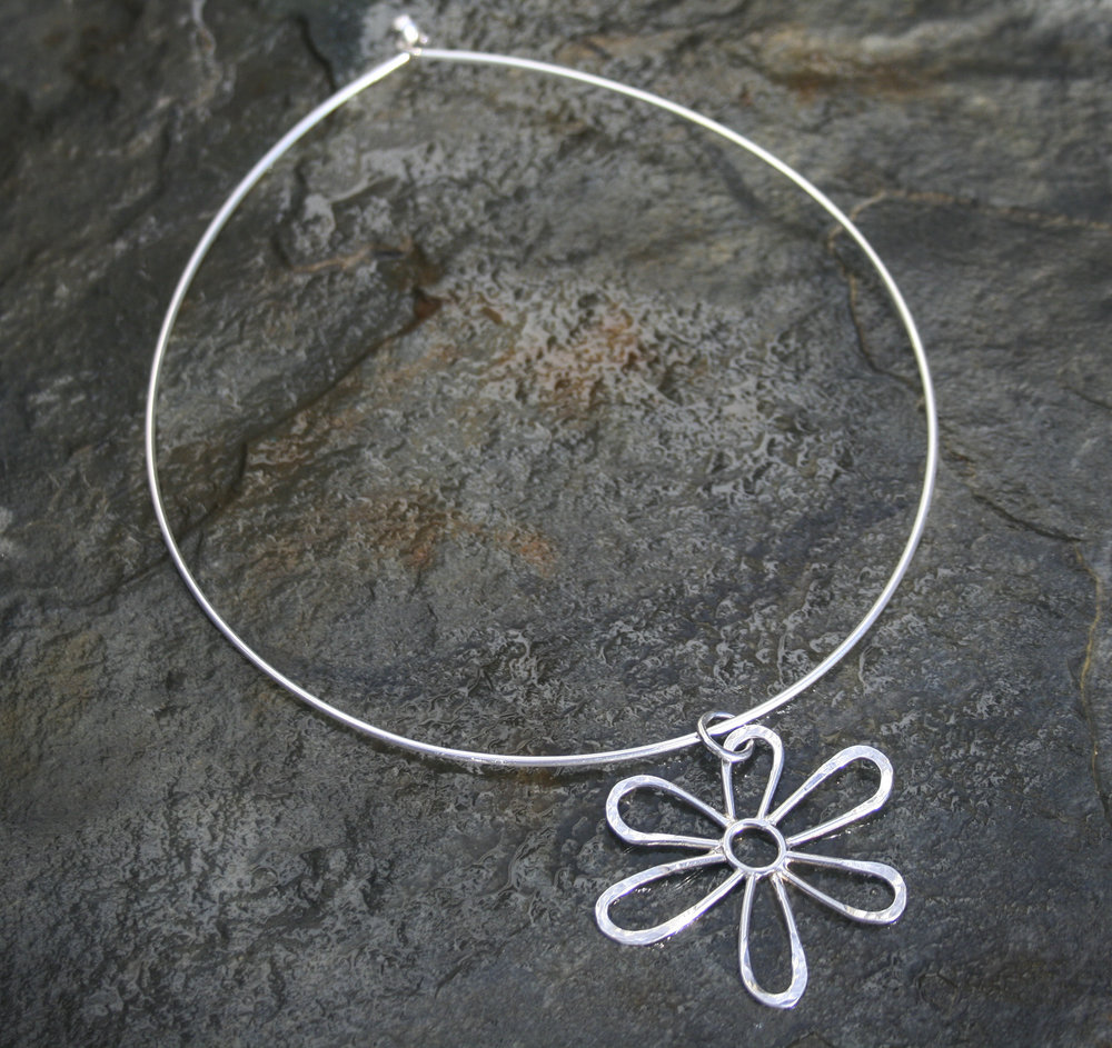 Meadow Flower Cushion Pendant on Solid Silver Necklet £125
