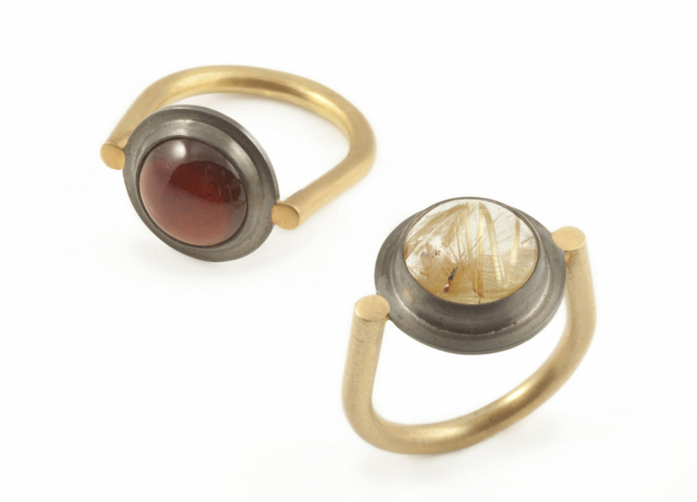 Garnet and Rutilated Quartz Spyglass rings  18ct Gold Vermeil and Black Rhodium Plated Sterling Silver  £240 each