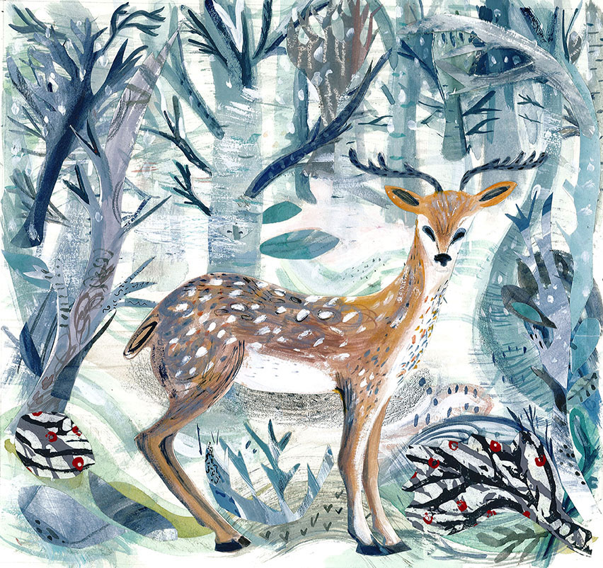 Winter Deer  mixed media  46 x 46cm  £250 framed