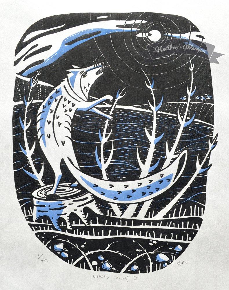 White Wolf II  Linocut on Japanese paper  image size: 36.8cm x 28.9cm  £130 unframed