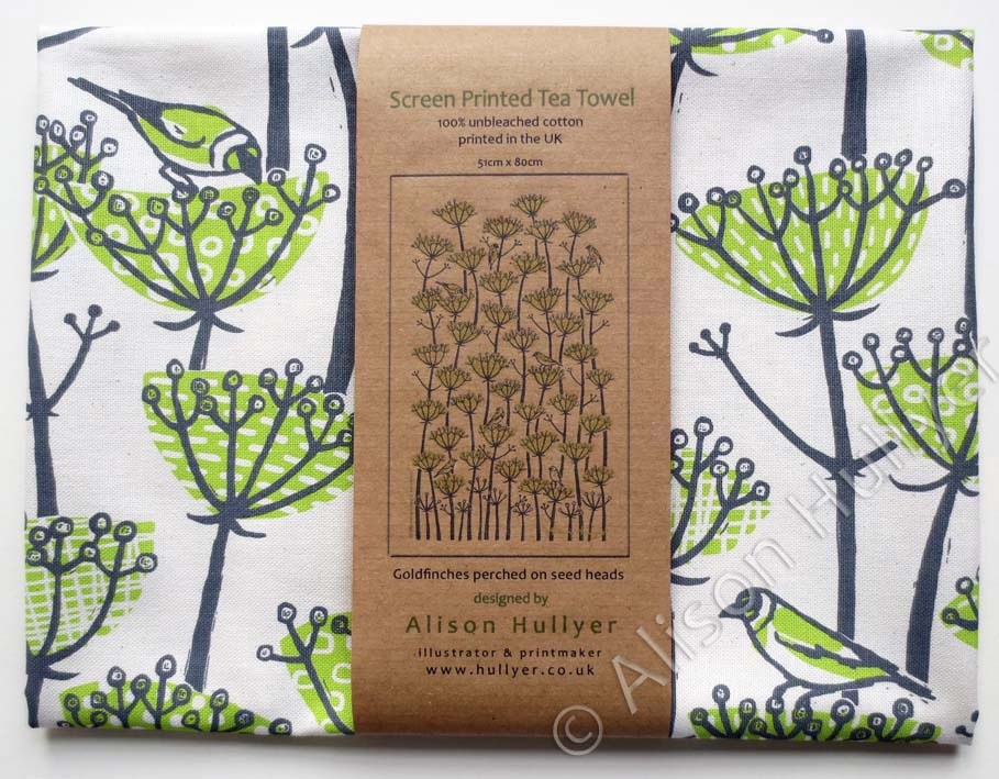 Green Goldfinches Tea Towel