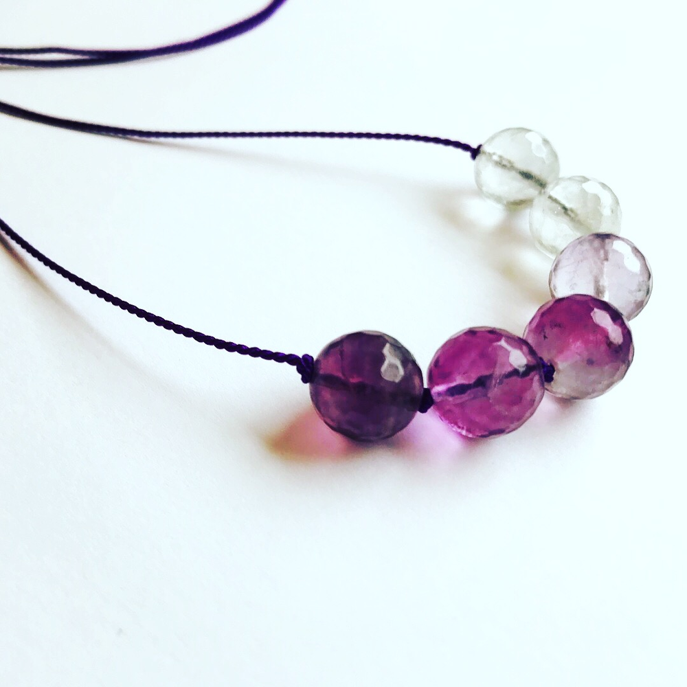 Ombré fluorite on amethyst silk necklace  stone diameter 10 mm.  silk length 960 mm  £15
