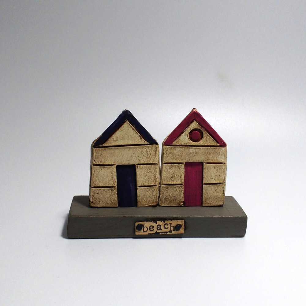 2 Beach Huts (1)  Ceramic on Wooden Plinth  £26.50