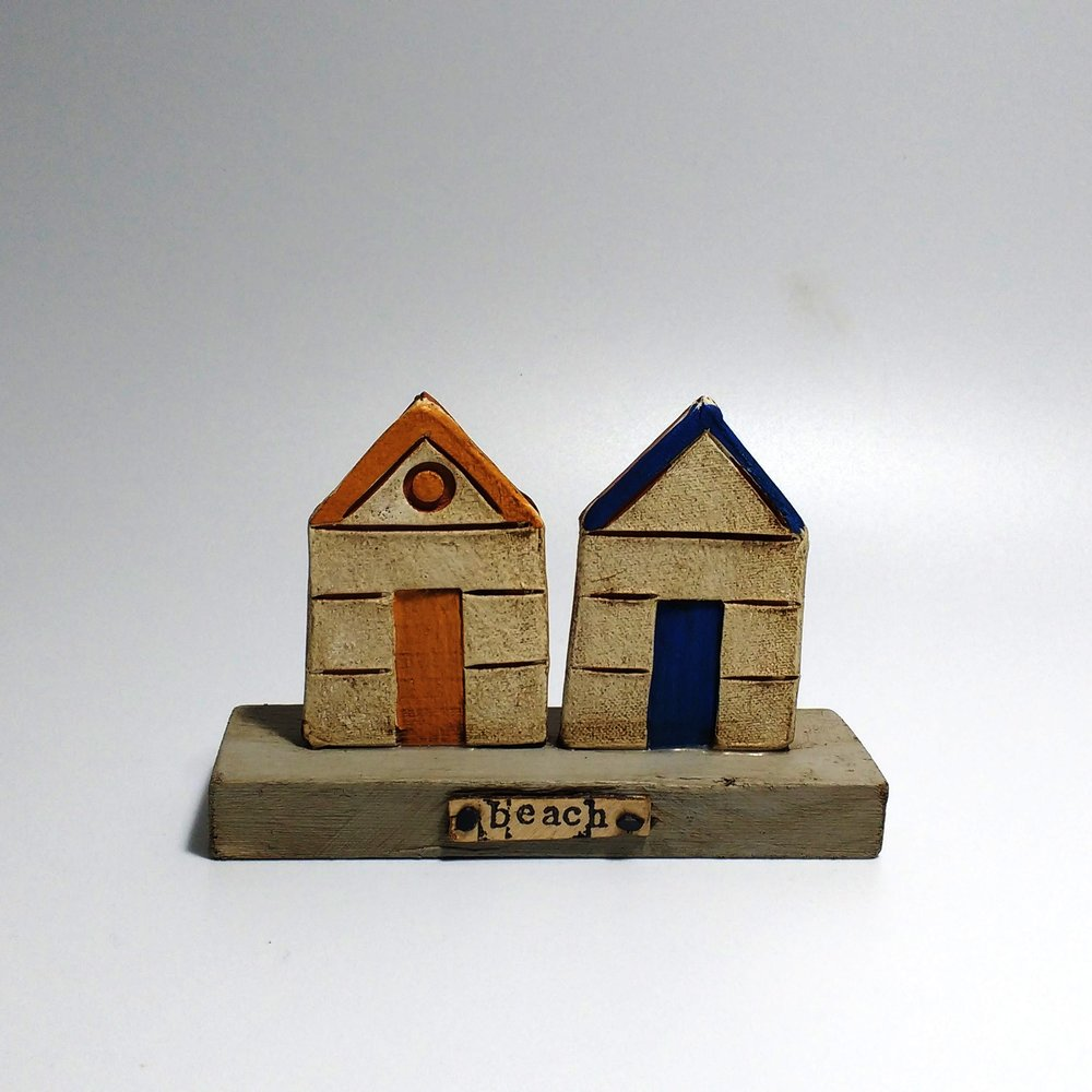2 Beach Huts (2)  Ceramic on Wooden Plinth  £26.50