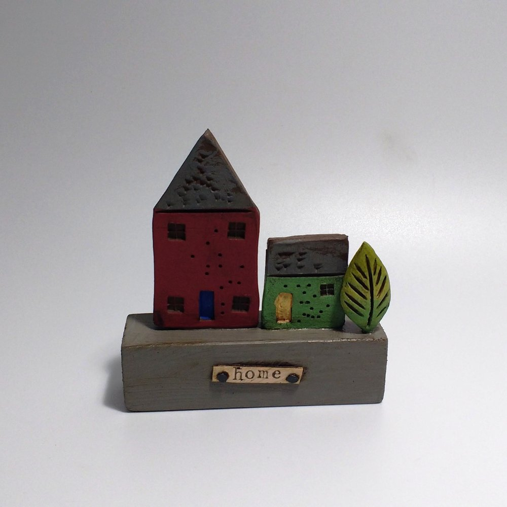 2 Houses II  Ceramic on Wooden Plinth  £26.50