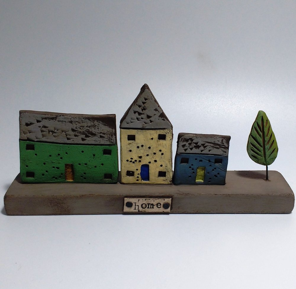 3 Houses  Ceramic on Wooden Plinth  £32.50