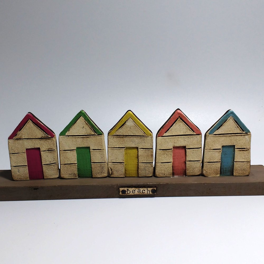 5 Beach Huts  Ceramic on Wooden Plinth  £46
