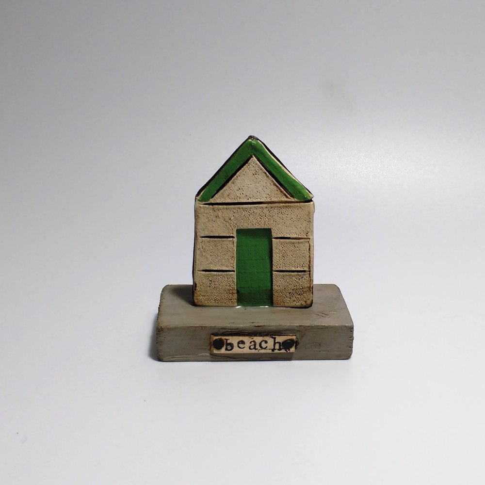 Beach Hut (1)  Ceramic on Wooden Plinth  £20.50