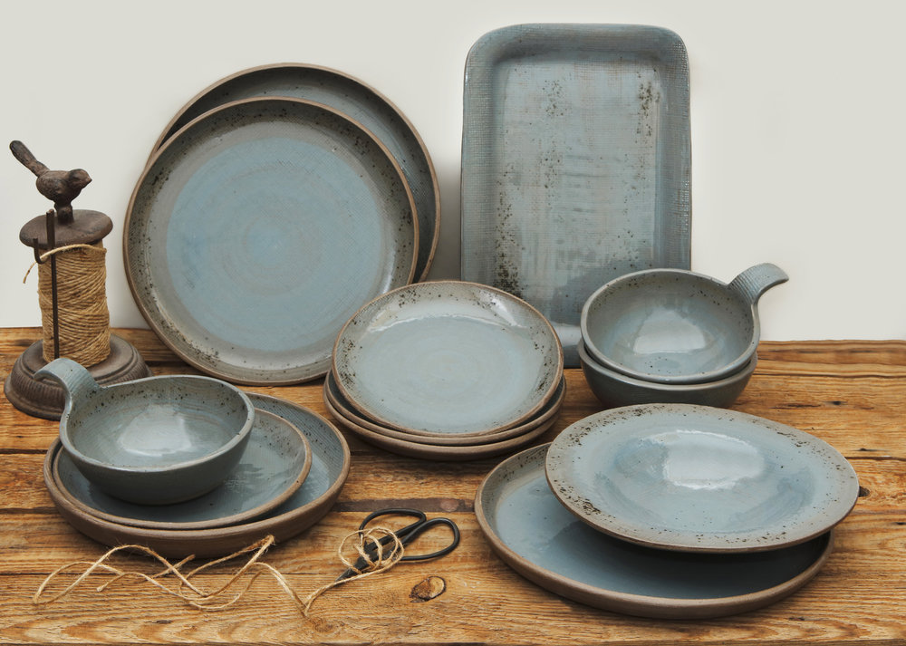 Ceramic Linen Grey  Bowl 15cm £25  Dessert Plate 18cm £27  Pasta Plate 23cm £33  Salad Plate £33  Dinner Plate 25cm £38  Small Platter £65