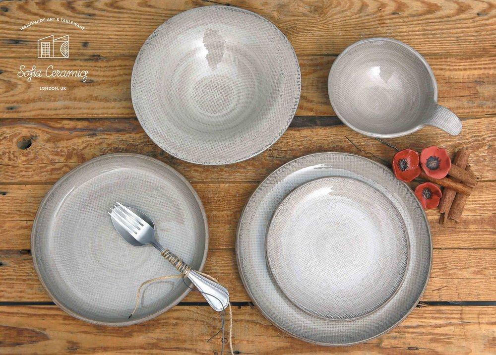 Ceramic Linen White  Bowl 15cm £25  Dessert Plate 18cm £27  Pasta Plate 23cm £33  Salad Plate £33  Dinner Plate 25cm £38  Small Platter £65