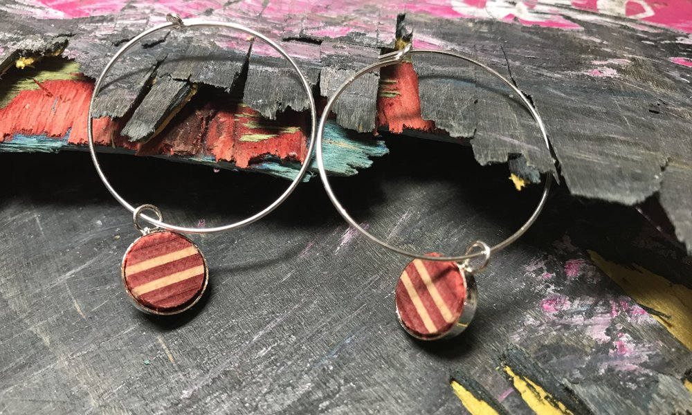 Hoop Earrings  Recycled Skateboard and Sterling Silver  1 x 1 cm, hoops 2 x 2 cm  £44