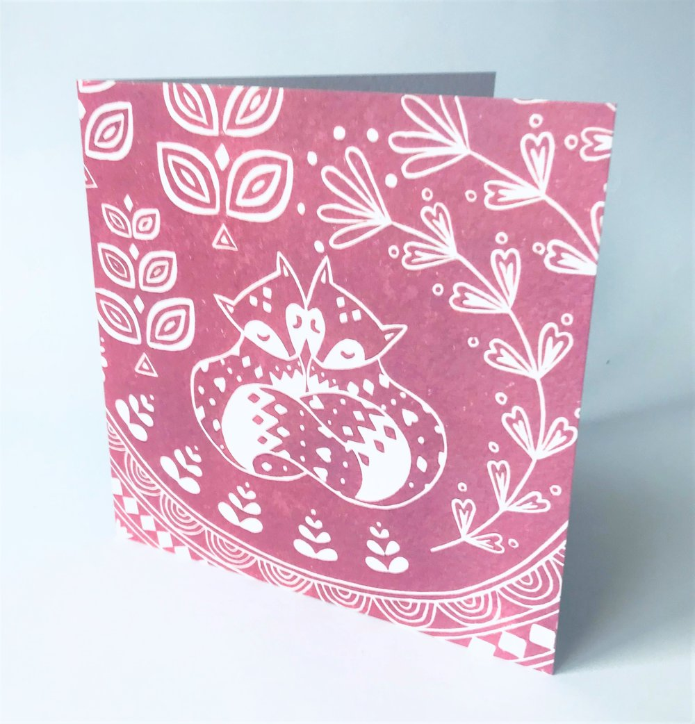 Daniel and Rosie Fox Dusky Pink  Card  15 x 15 cm  £2.50