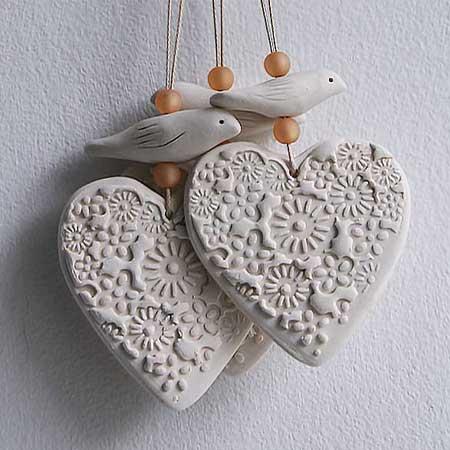 Dove & Heart Hanging  ceramic  £10.00