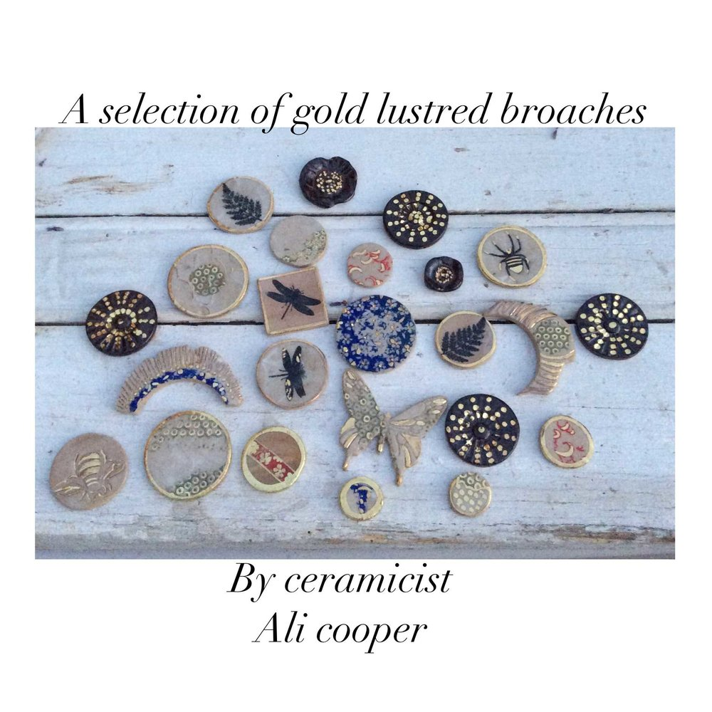 Gold Lustred Brooches